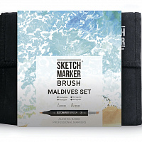 Набор маркеров SKETCHMARKER BRUSH 36 Maldives set - Мальдивы (36 маркеров + сумка органайзер)